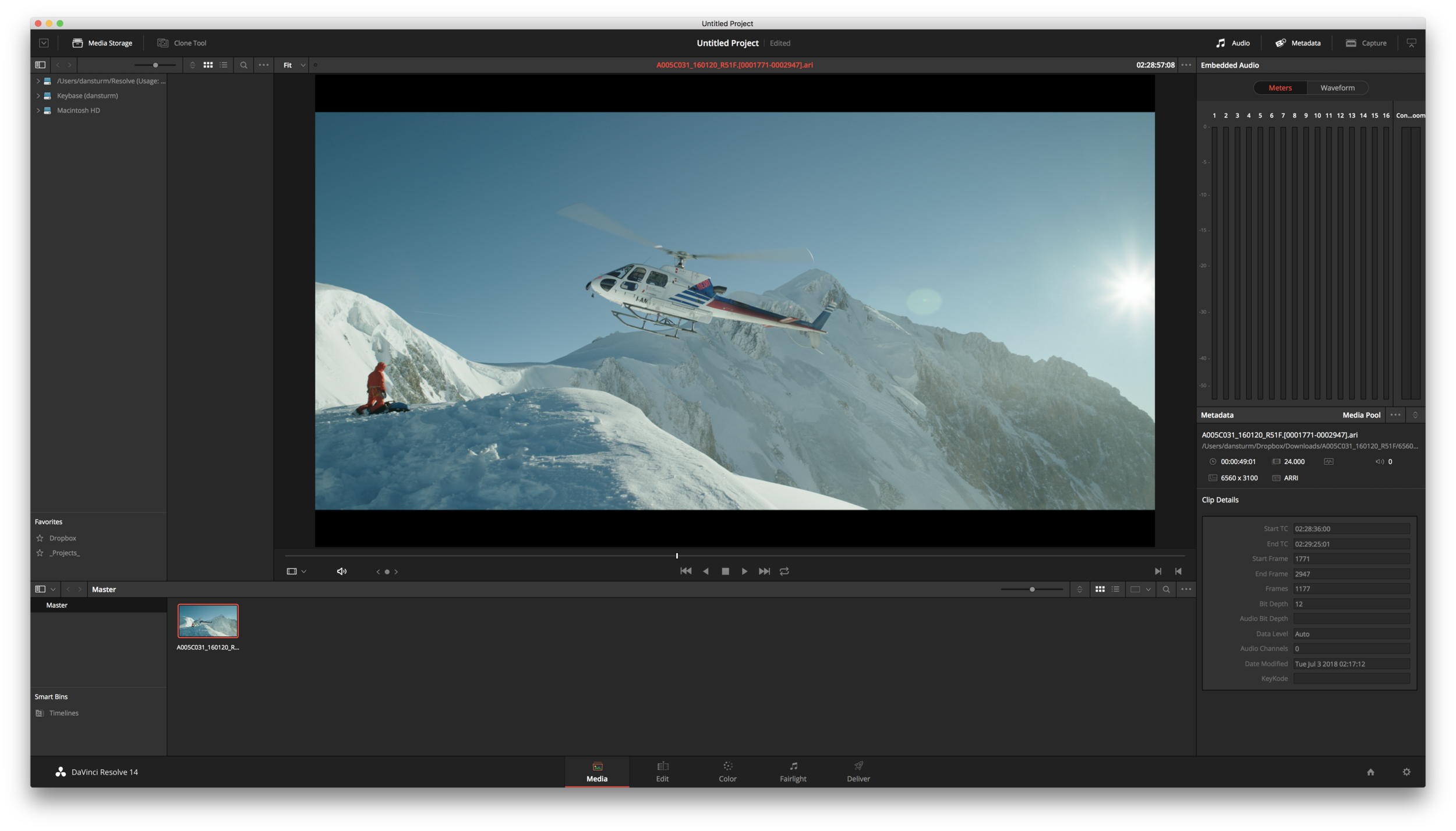 An Alexa LogC clip being viewed in Resolve with the Arri Alexa LogC to Rec709 3D LUT applied.