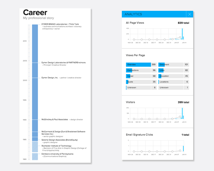 I also have a page that shows a  timeline of my professional career . Behind, the scenes, VIZIFY provides me with simple to read analytics.