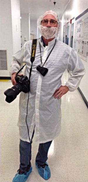 Len Rubenstein dressed for a laboratory shoot.