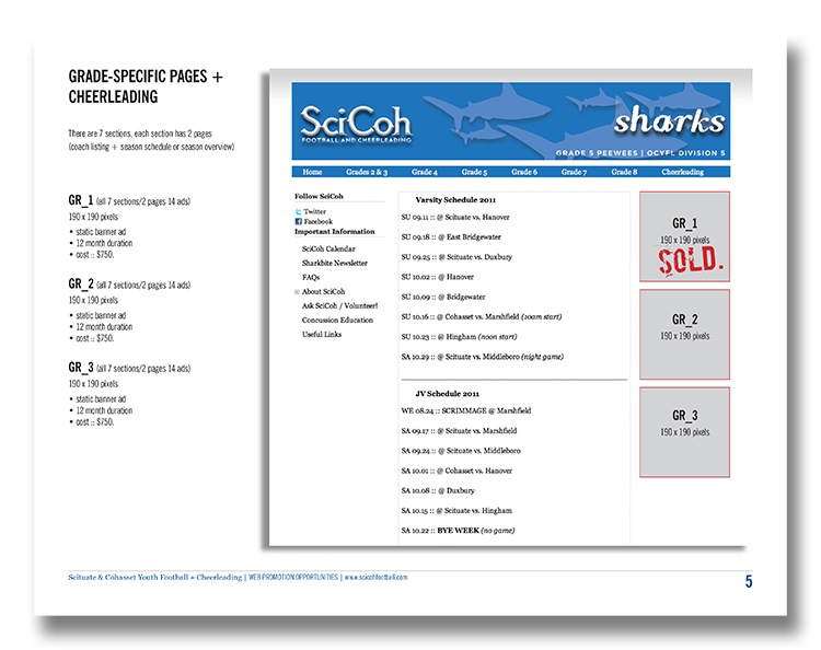 Sales guide for selling ad space on the SciCoh website