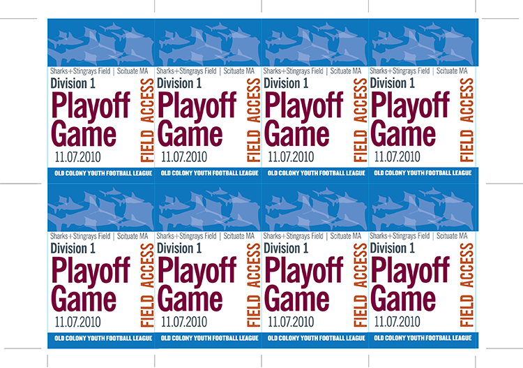 Field access passes for league playoff game (2010).