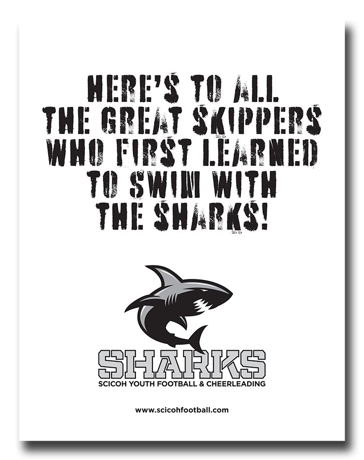 Black & white print ad for the Cohasset 'Skippers' high school football program (2011).