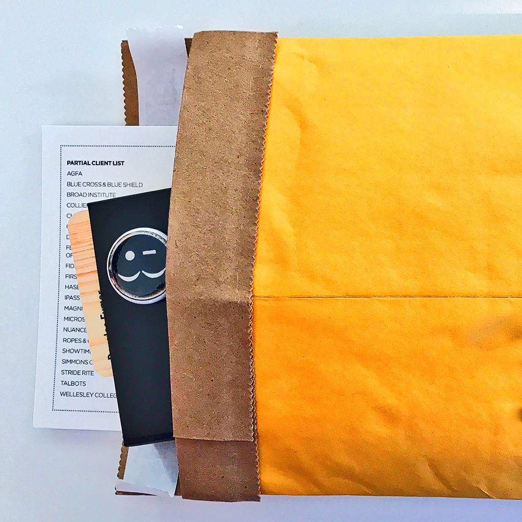 """All of these items, including a 1"""" EYMER button are placed inside a padded envelope"""