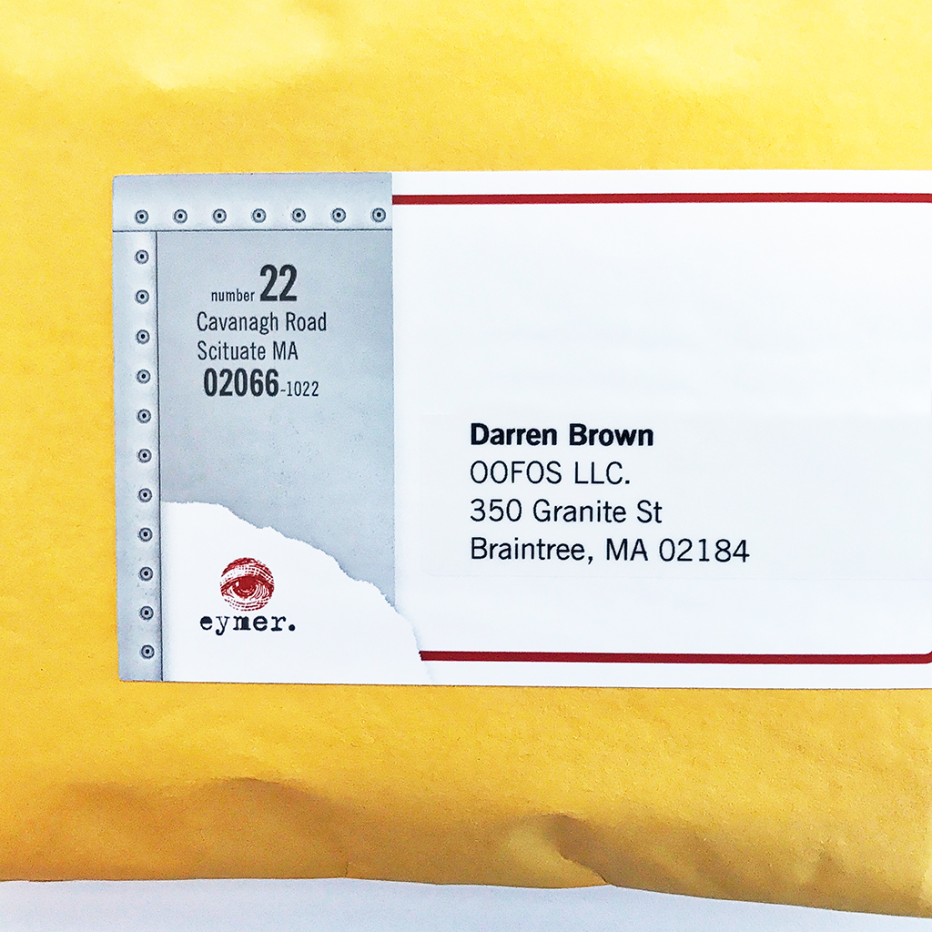 Mailing label and address label are adhered to the envelop front
