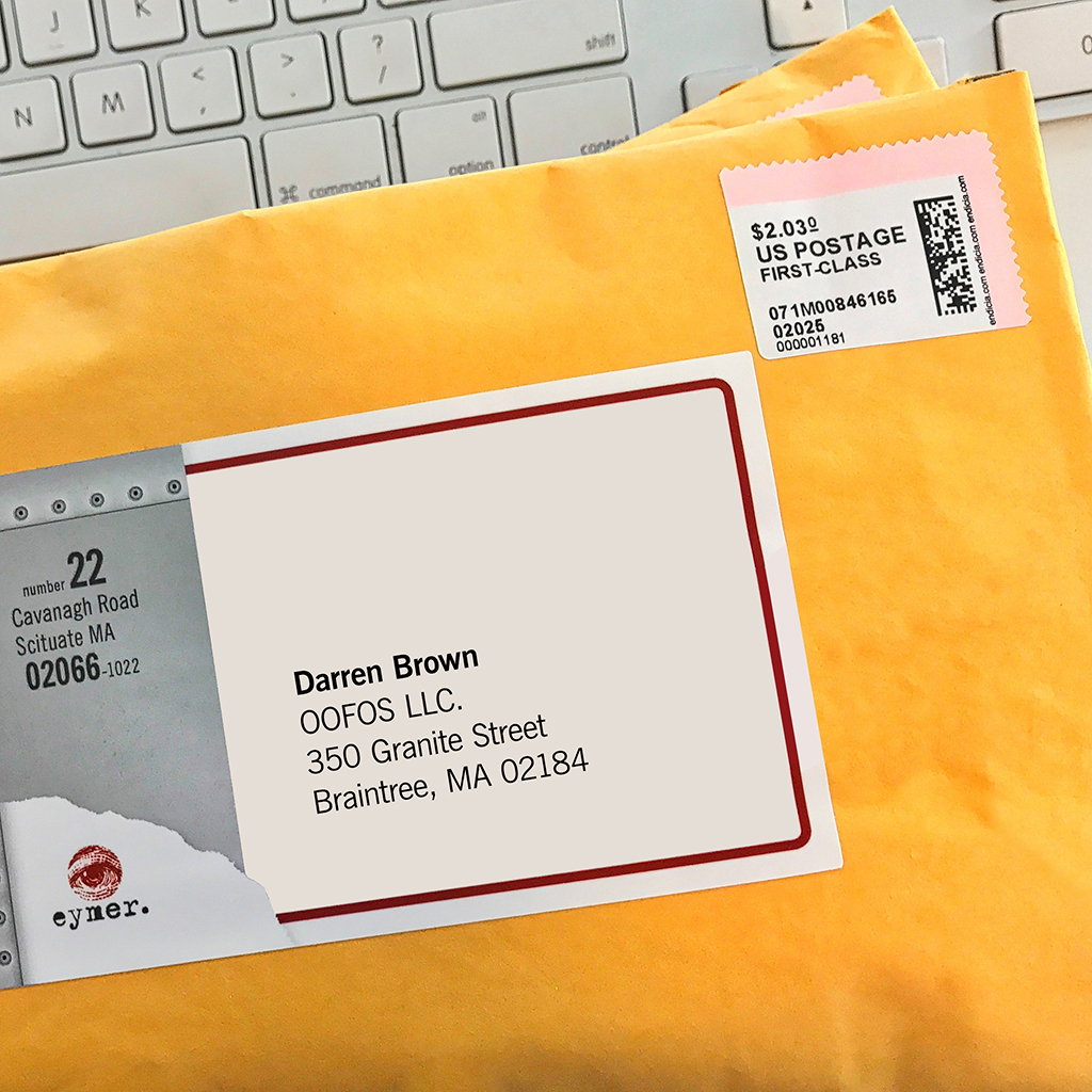 Postage is applied and the package is ready to be carted off to the post office!