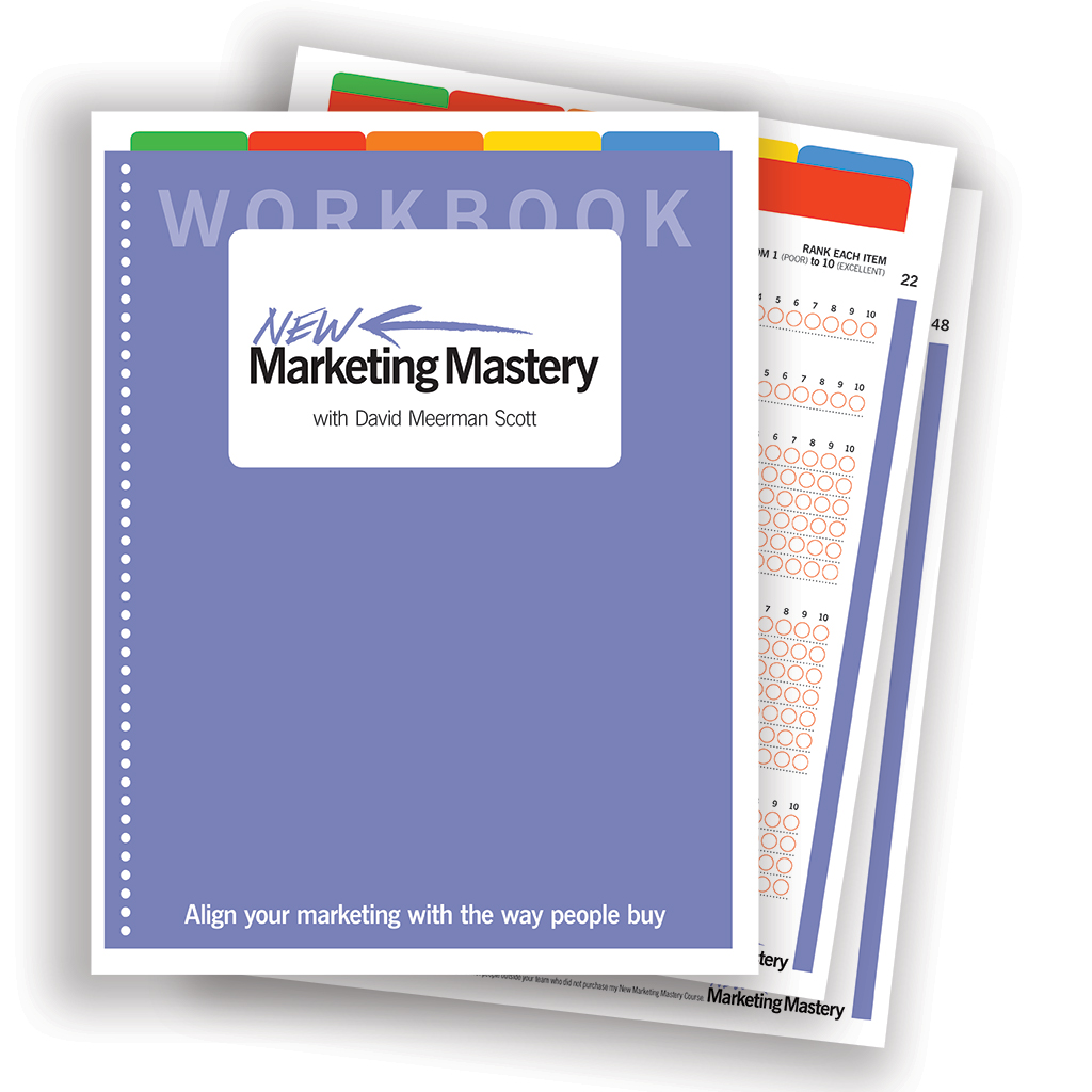Workbook design for David Meerman Scott's  New Marketing Mastery  online course