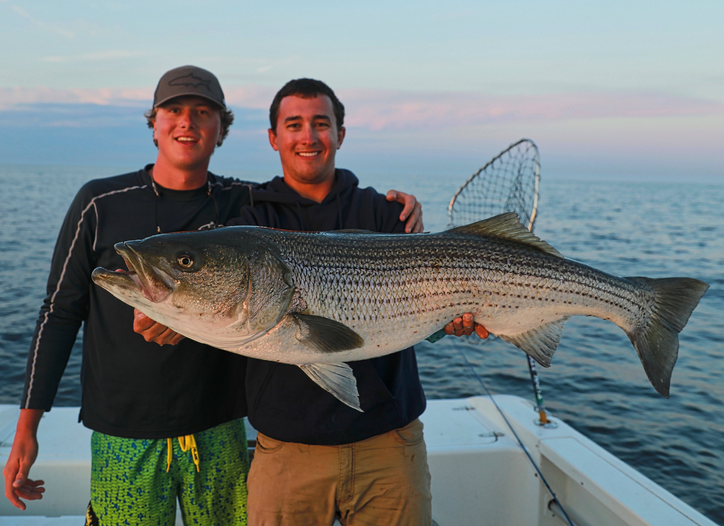 Foster Eymer, Lawson Lindsey and a gigantic striped bass
