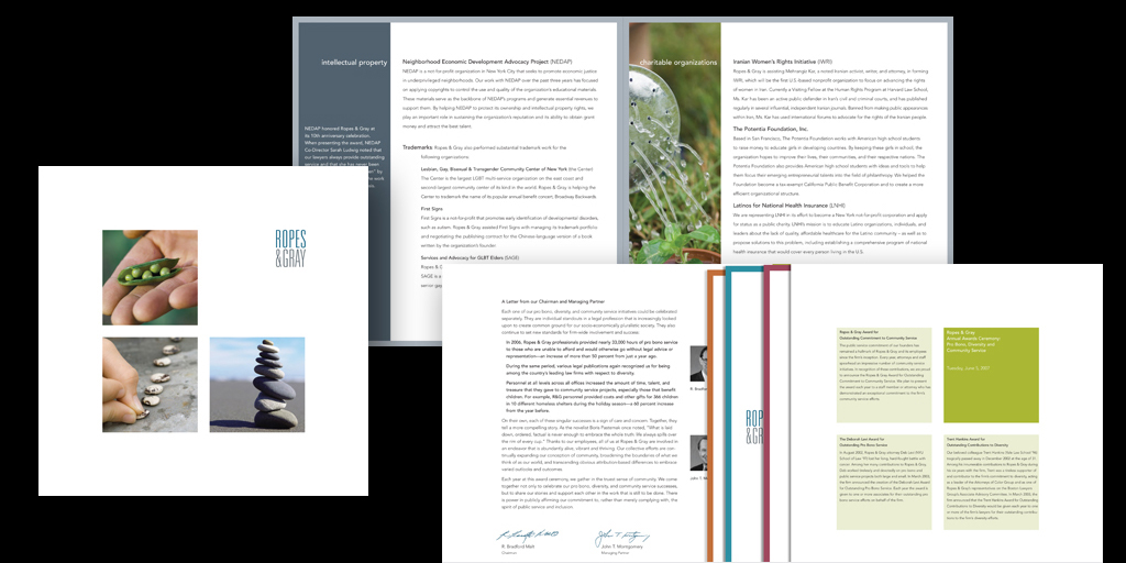 Folder & Inserts: Honoring Commitment to Diversity, Community Involvement, and ProBono Activities