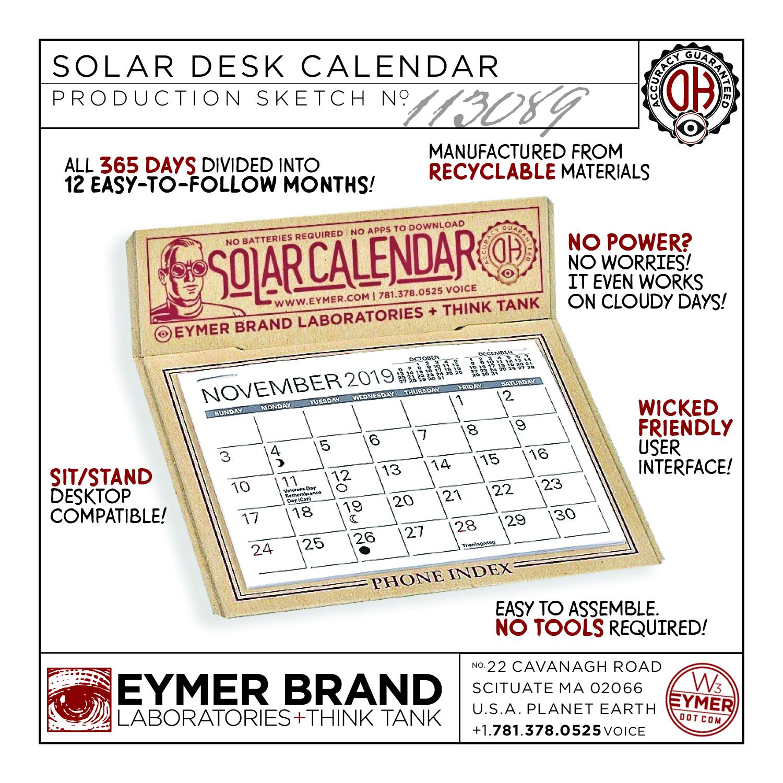 FREE Solar Calendars! — EYMER BRAND Laboratories + Think Tank