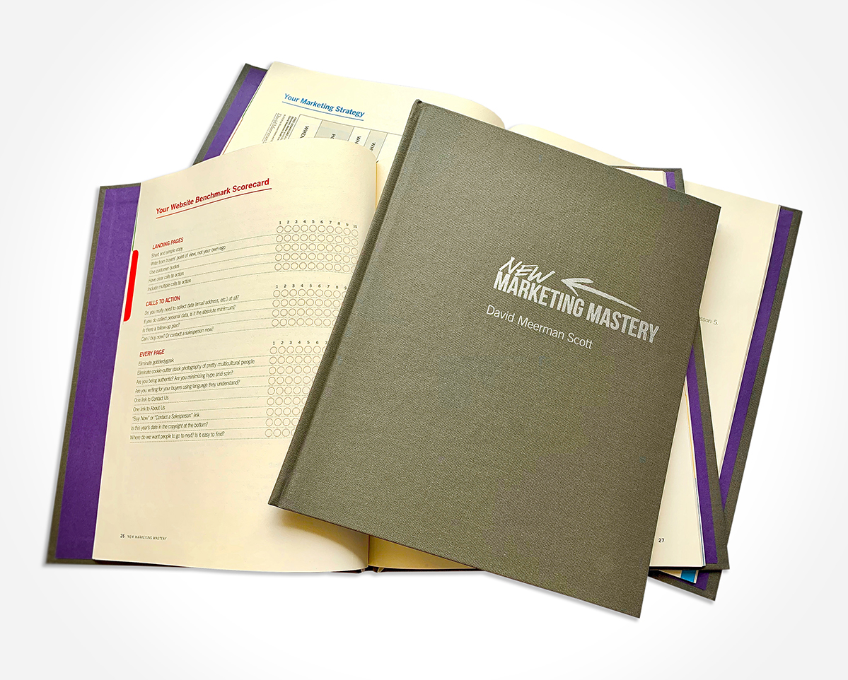 The materials that I designed to accompany David Meerman Scott's online course, ' New Marketing Mastery ,' is an excellent example of non-disruptive communications. The gridded and informationally-leveled layouts allow the reader to ingest information without disruption easily.