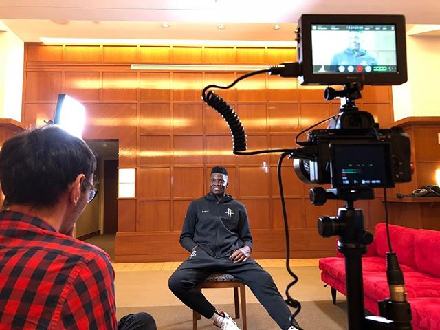 Interviewing @ccapela15 of the @houstonrockets for @playerstribune He talked about coming to the NBA, The Rockets season and growing up watching then eventually becoming friends with @thierryhenry  #BTS #ToyotaCenter #Houston #Texas #TX