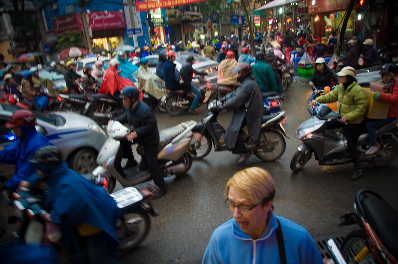 Shirley thought the sidewalk was safe... Hanoi, Vietnam