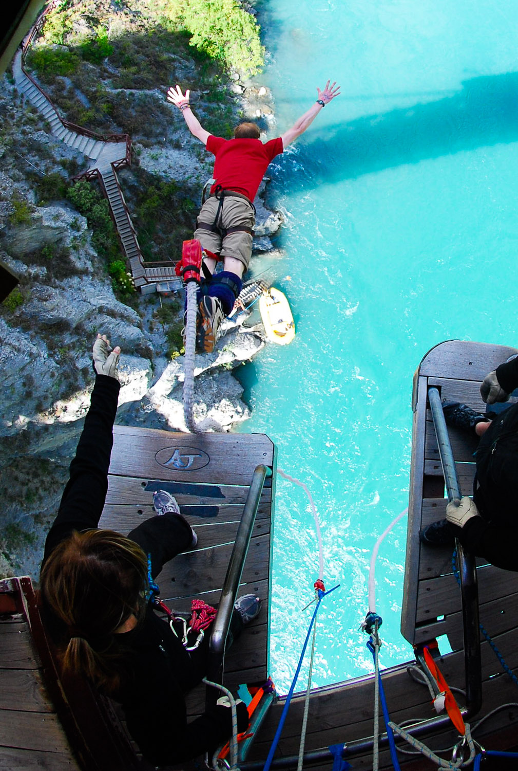 My first bungee jump - Kawarau Bridge, New Zealand - New Years Day 2010
