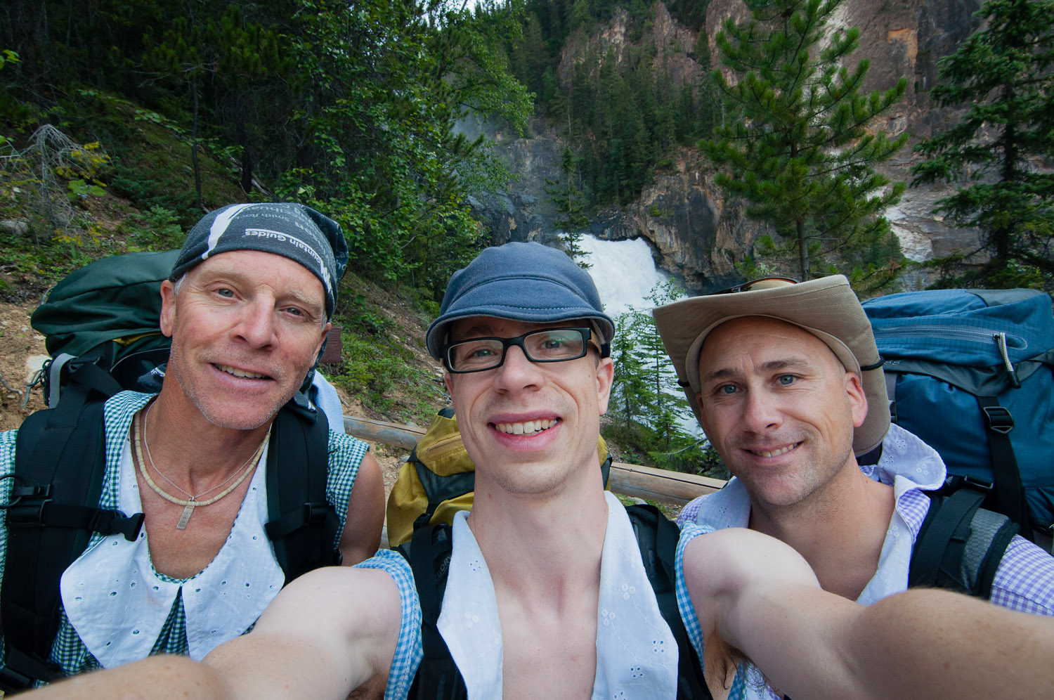 Dale, Dustin, and Jeff near White Falls.  Berg Lake Trail, BC - Canada