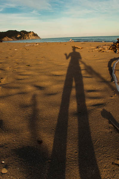 Shadowing on the beached of the east coast. Tokomaru Bay, New Zealand.