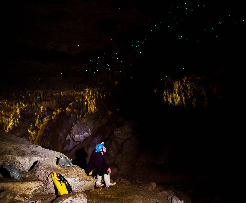 Caving near Waitomo with glowworms. New Zealand