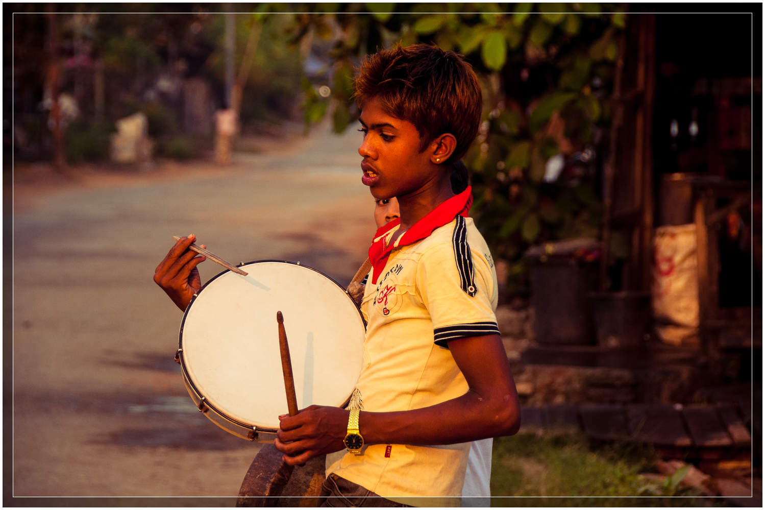 Kids and teenagers lead the way with their hypnotic drumming.  © Dustin Main 2013