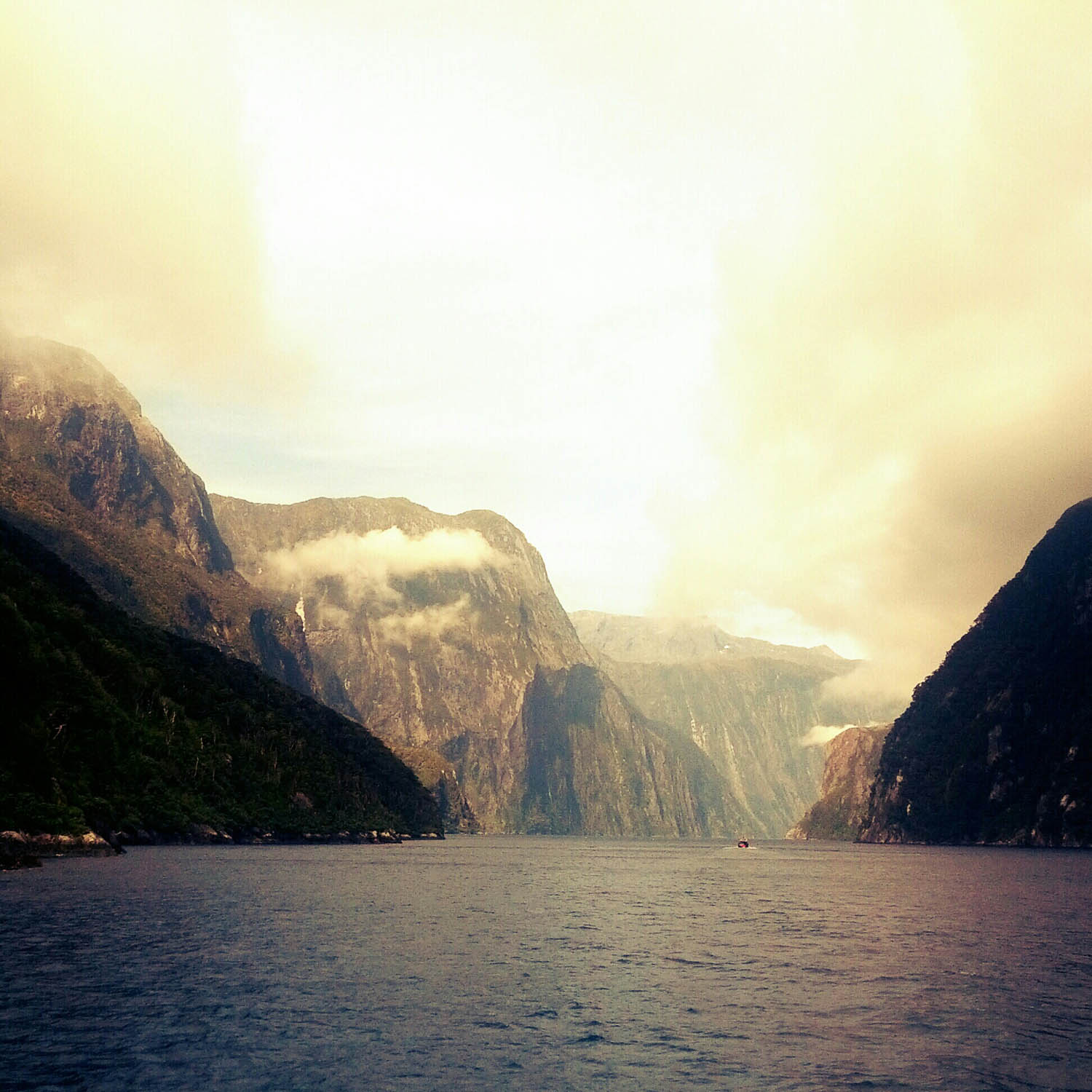 The haze of Milford Sound