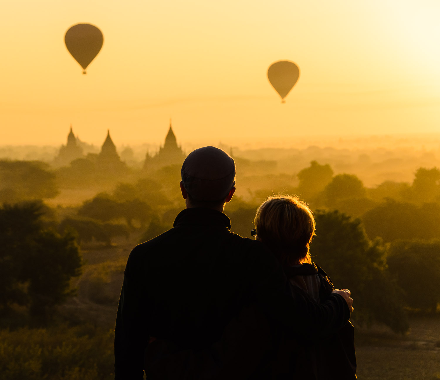 Haze and smoke set the stage for an unbelievable sunrise to share with my Mom from North Guni, Bagan. © Dustin Main 2014