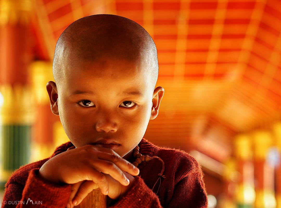 Young novice monk at Indein.  Shan State, Myanmar (Burma) © Dustin Main 2015