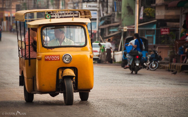 Funky three-wheeled rickshaw on the streets of Mawlamyine (Mon State) Myanmar. © Dustin Main 2014