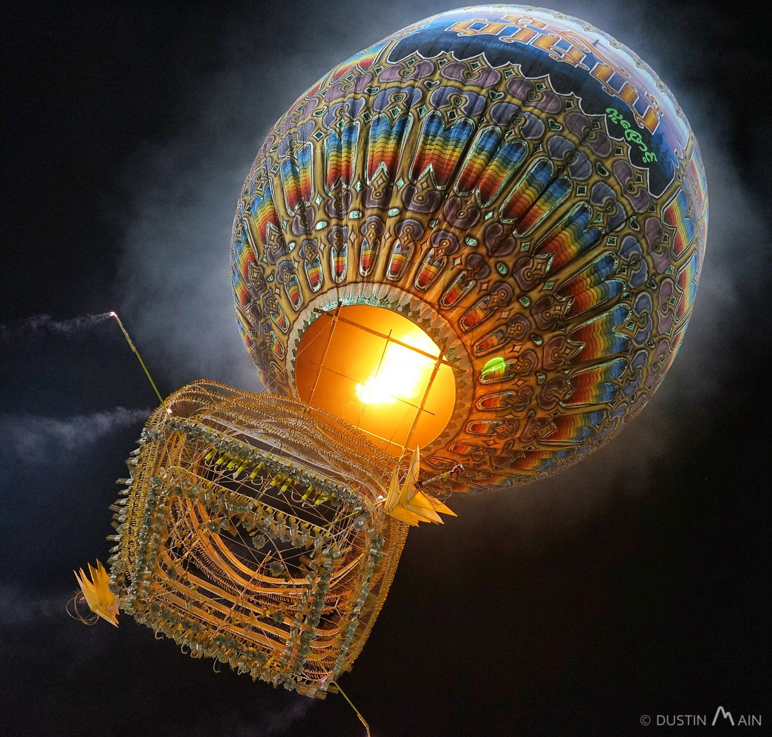 A fire balloon launches for the Tazaungdaing festival in Taunggyi.
