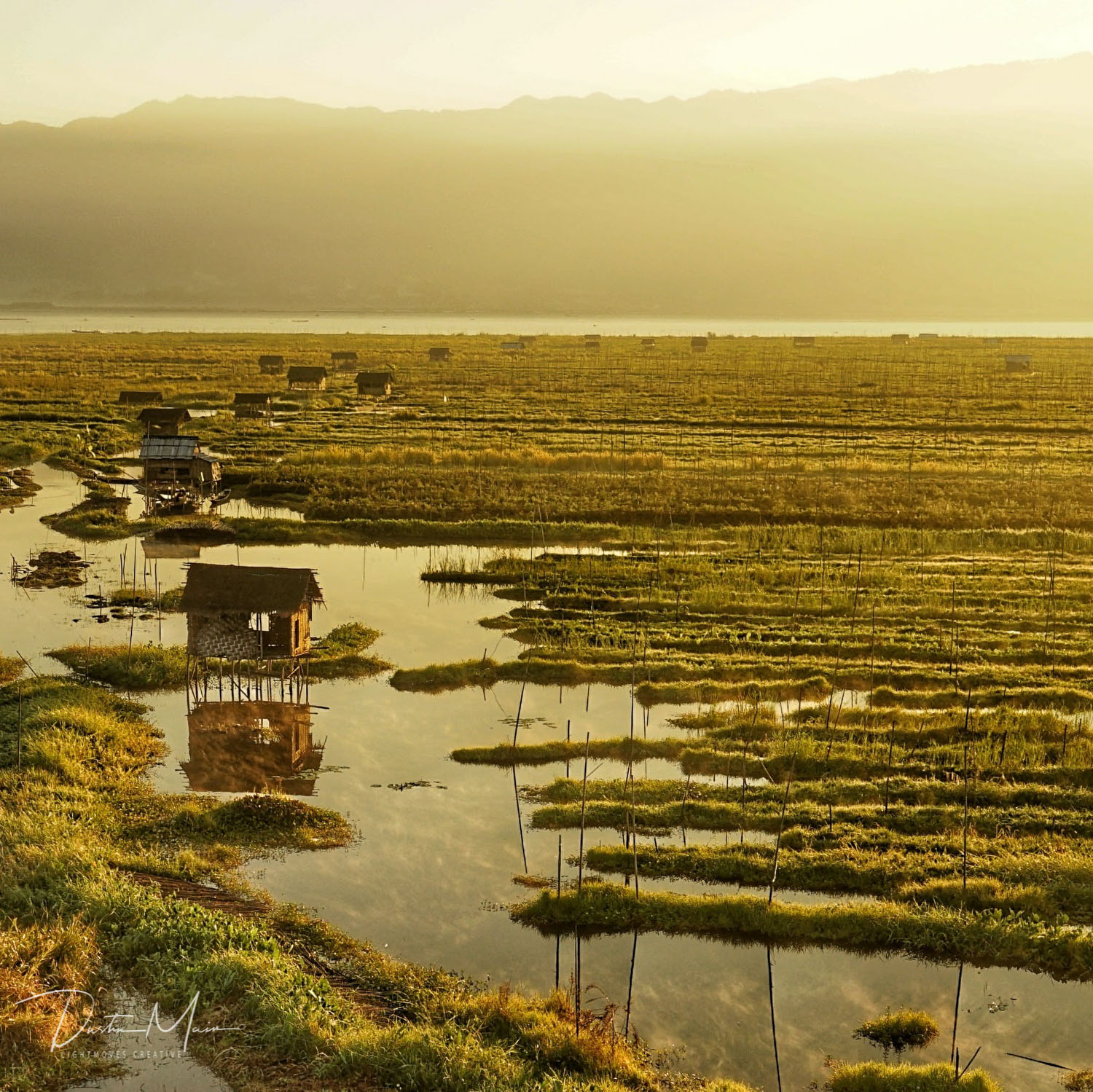 The sun paints a golden glow over the floating gardens and rest houses over Inle Lake.  © Dustin Main 2017