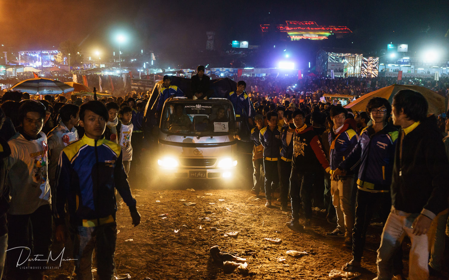 The crew drives onto the festival grounds just outside of Taunggyi.  © Dustin Main 2016