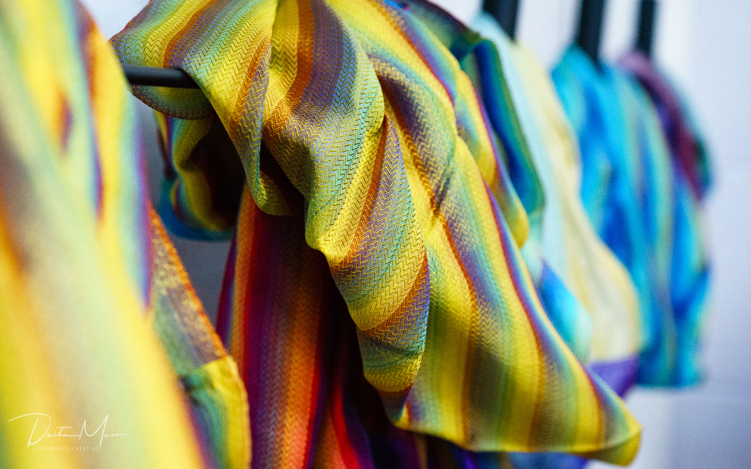 Scarves from FXB Myanmar at their sales office in Yangon. © Dustin Main 2017