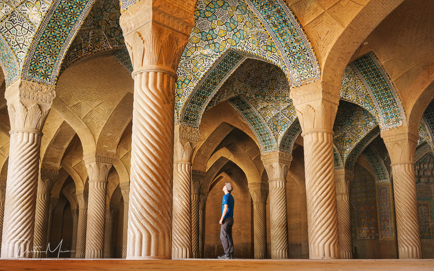 Self portrait in Vakil mosque in Shiraz, Iran. Shot with Sony Zeiss 35mm 2.8 © Dustin Main 2017