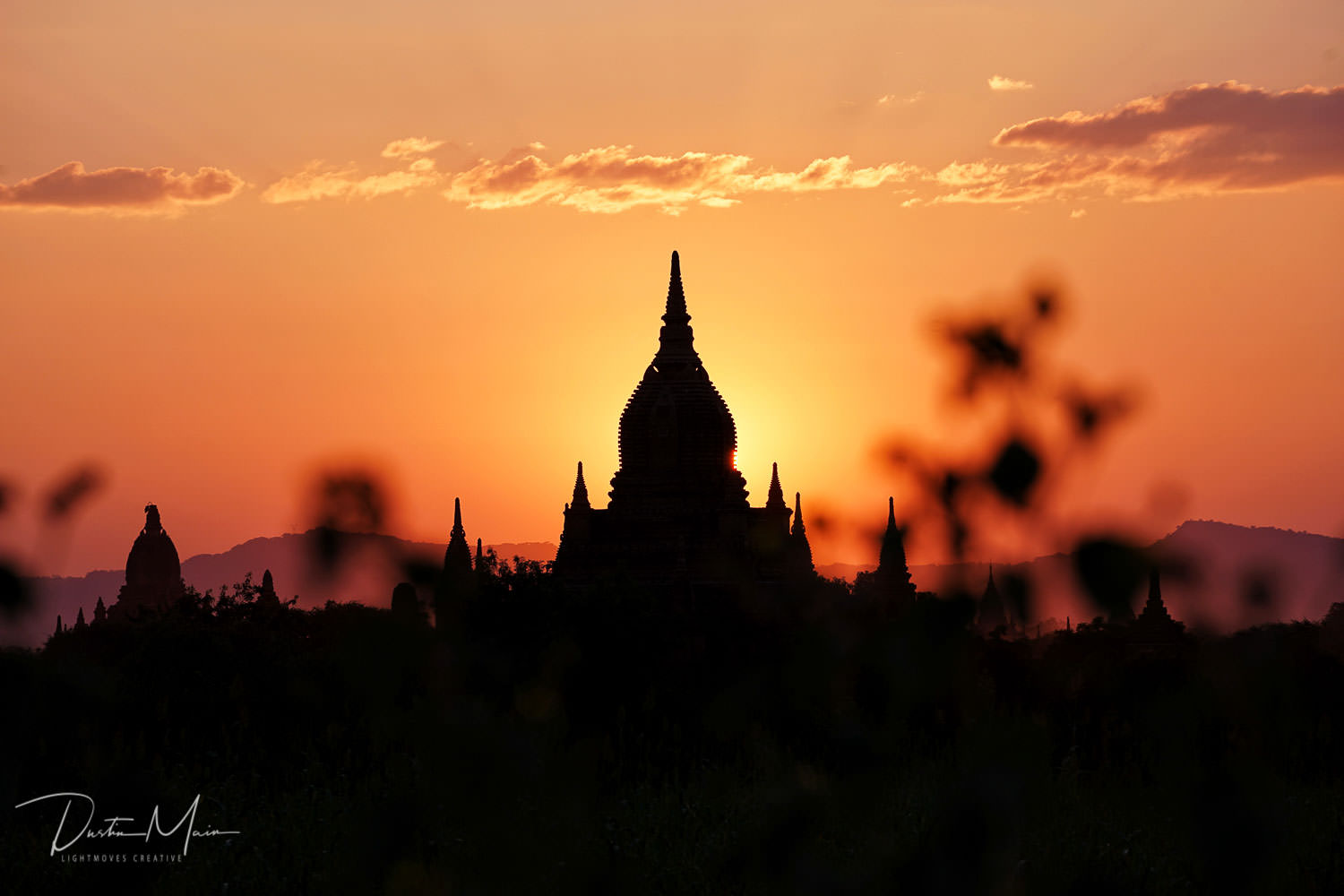 Temple silhouette at sunset in Bagan, Myanmar © Dustin Main 2017