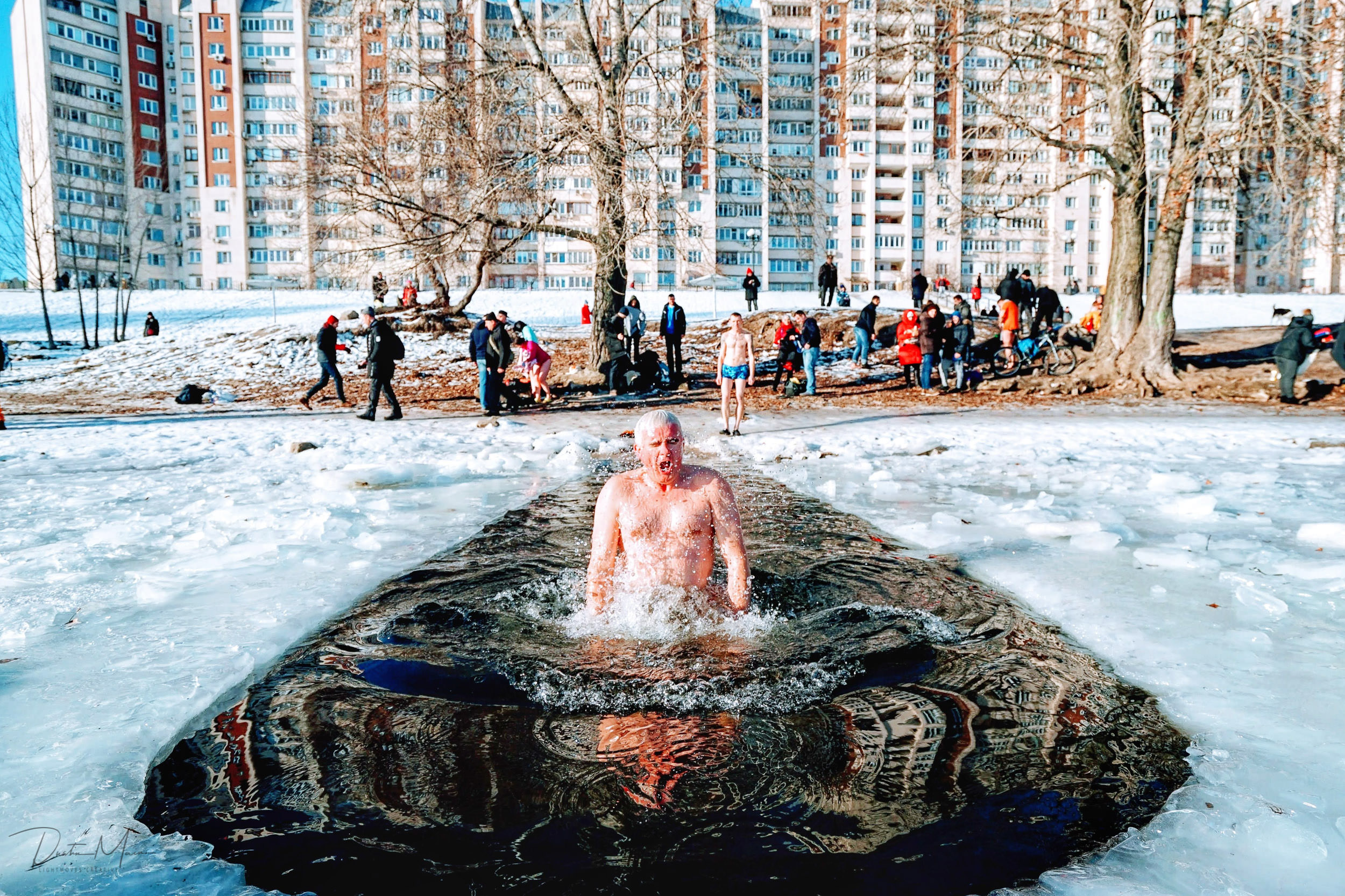 Man gasps for air after dunking himself in the waters of the Dnieper River for the Epiphany celebrations in Kyiv on January 19th. © Dustin Main 2019