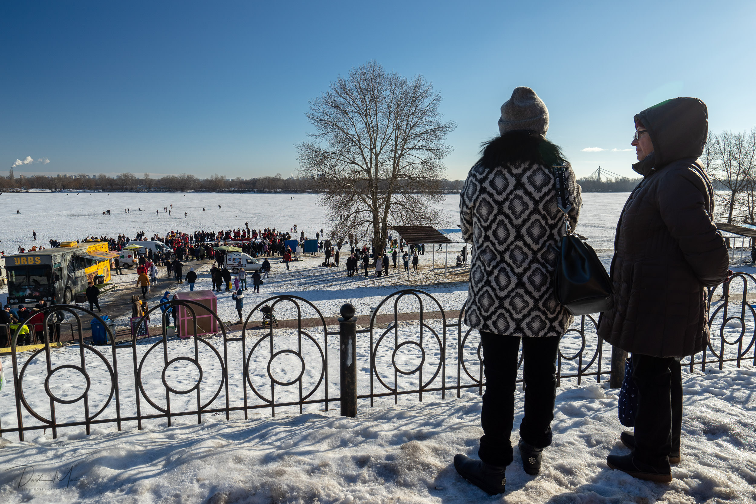Looking out over the Dnieper river during the Epiphany gatherings in Kyiv. © Dustin Main 2019