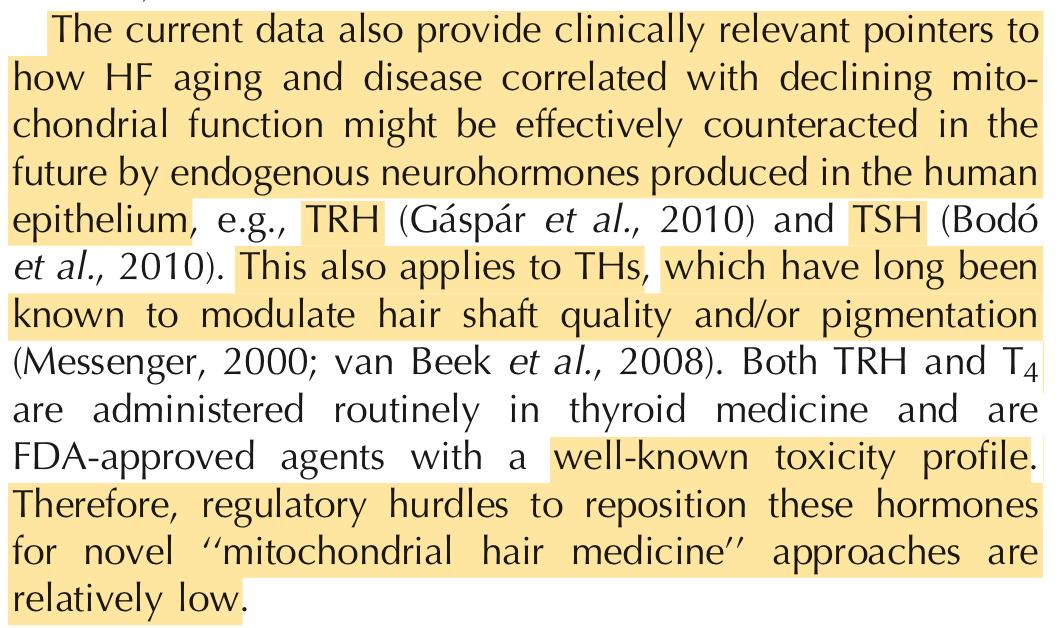 Vidali, S., et al. Hypothalamic-Pituitary-Thyroid Axis Hormones Stimulate Mitochondrial Function and Biogenesis in Human Hair Follicles. J Invest Dermatol. 2013 Jun 27.