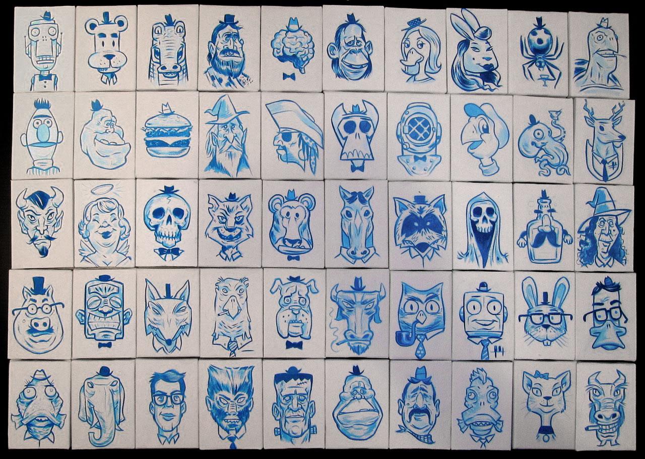 """Tiny Blue Paintings, Gouache on mini-canvas (2.5x3.5"""")"""