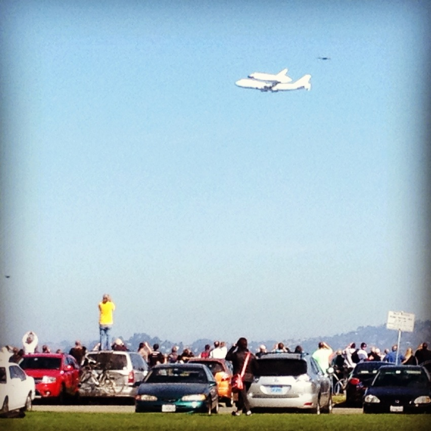 The Space Shuttle over San Francisco