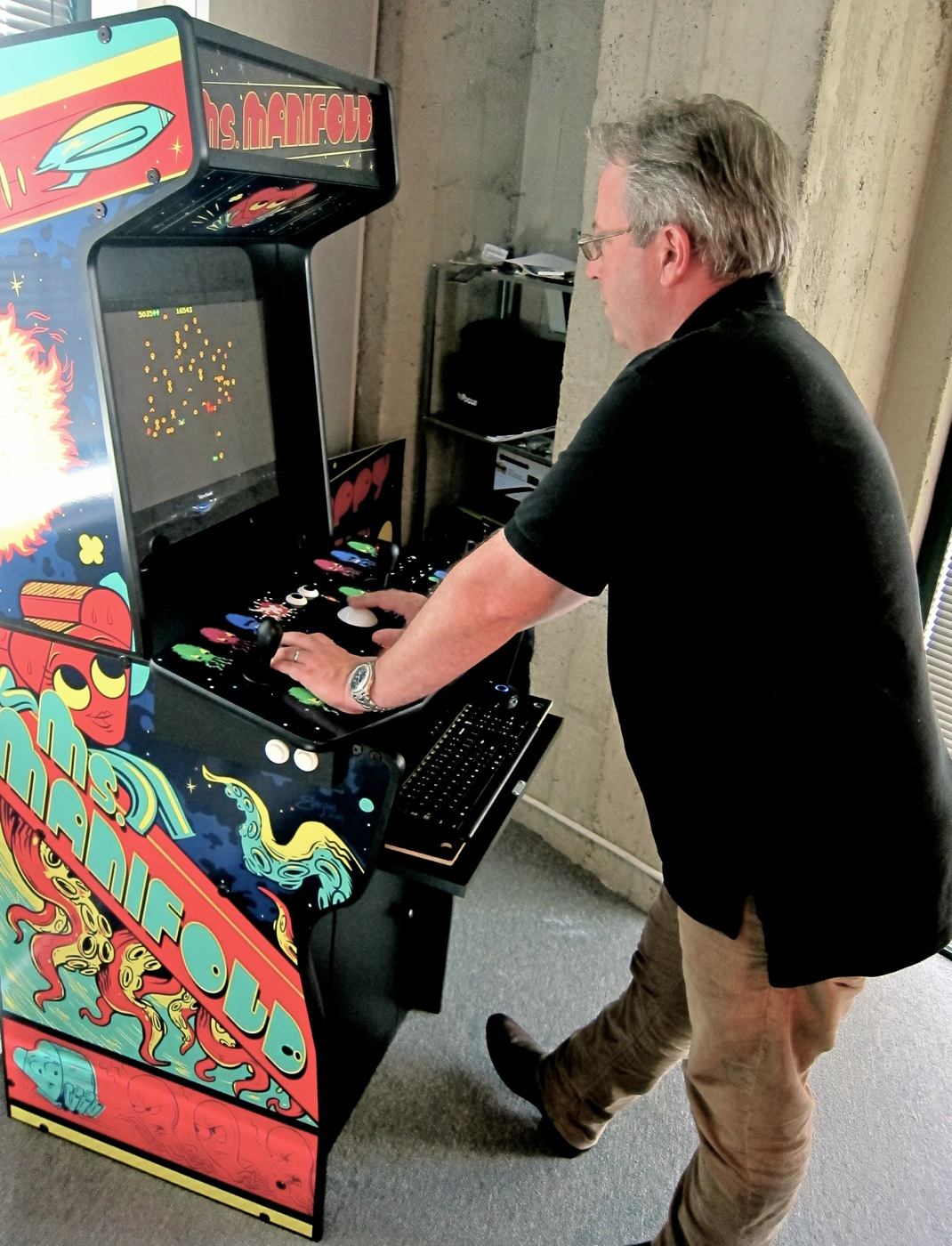Brian Mullin, partner at Manifold, playing Centipede