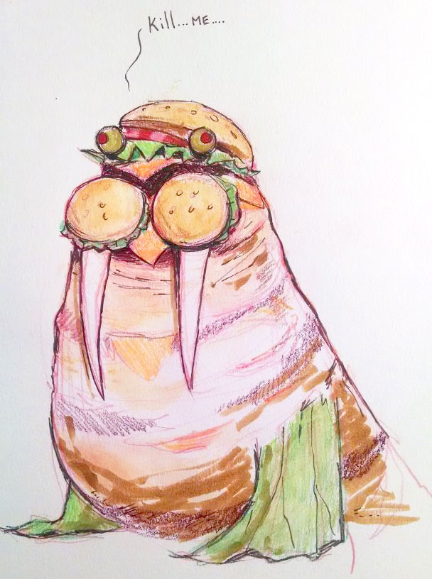 Original doodle for the Burger Walrus design.