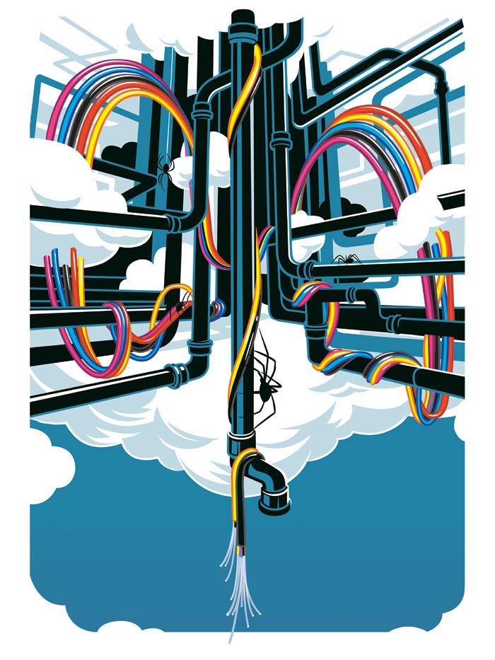 AOL Fiber Rainbow Poster