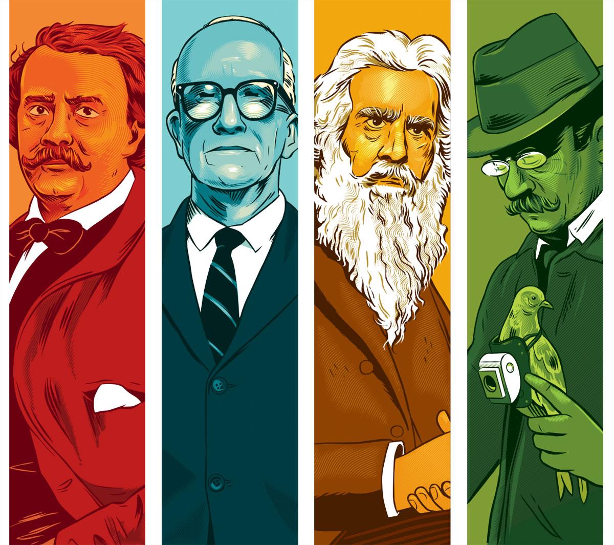 "Felix ""Nadar"" Tournachon, Buckminster Fuller, Eadweard Muybridge, Julius Neubronner"