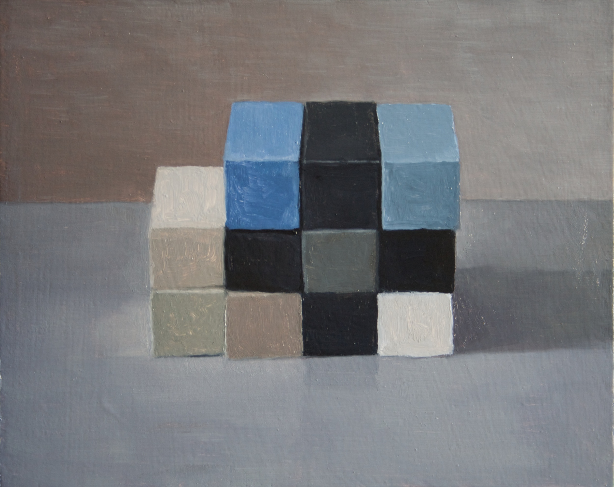 Study,  Checkerboard III,  2014 Oil on wood, 20 x 25 cm. SOLD