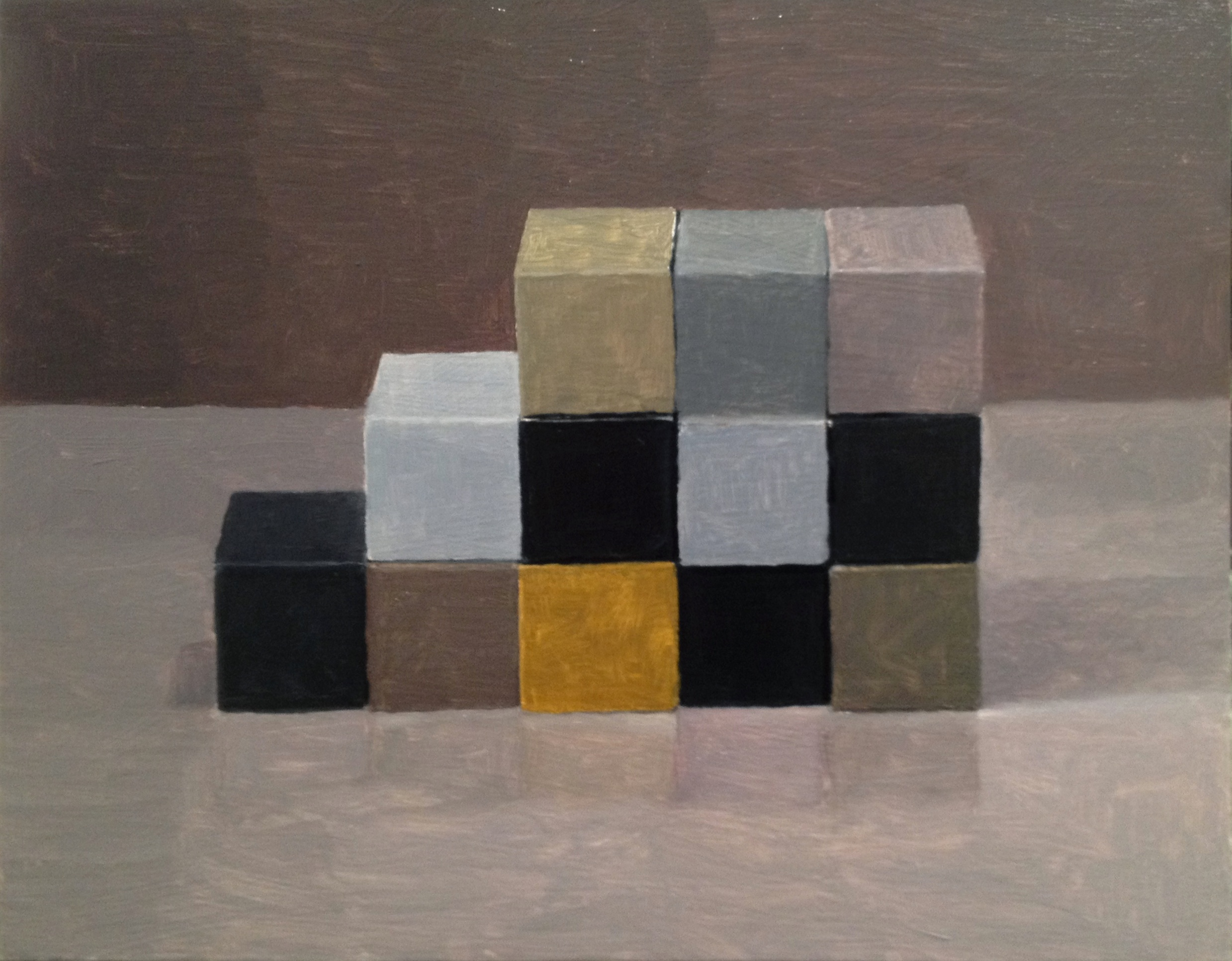 Study, Checkerboard VII,  2014 Oil on wood, 28 x 35 cm SOLD