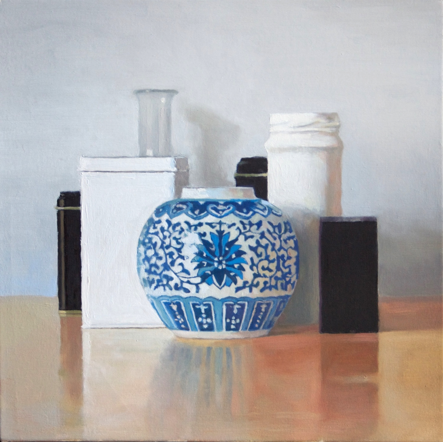 Still Life with Ornamental Vase, 2014 Oil on canvas, 16 x 16 inches $950 + HST Contemporary steel reveal frame, silver-gold, 2 inch height , 1/4 inch width.