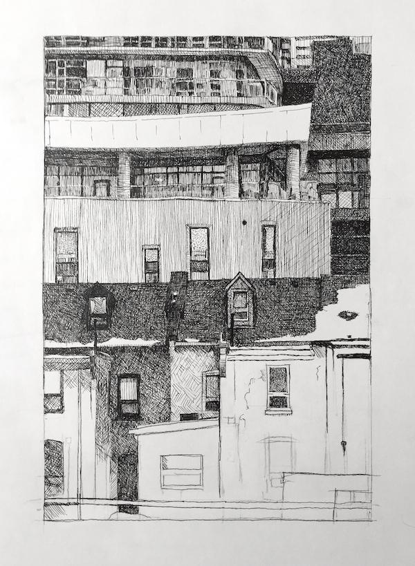 Remembering Albert Franck, 2015 Inkover graphite on paper, (in progress), 14 x 11 inches