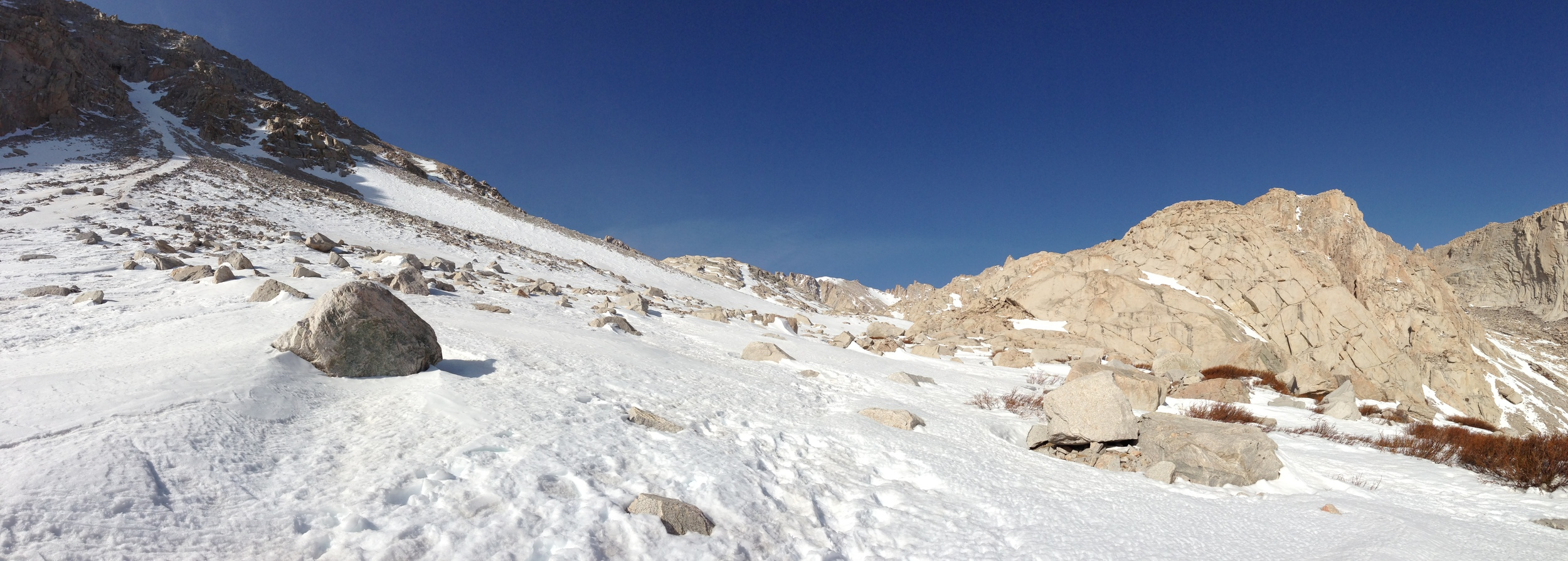 Snow Coverage, Mt. Whitney Trail, April 8, 2013