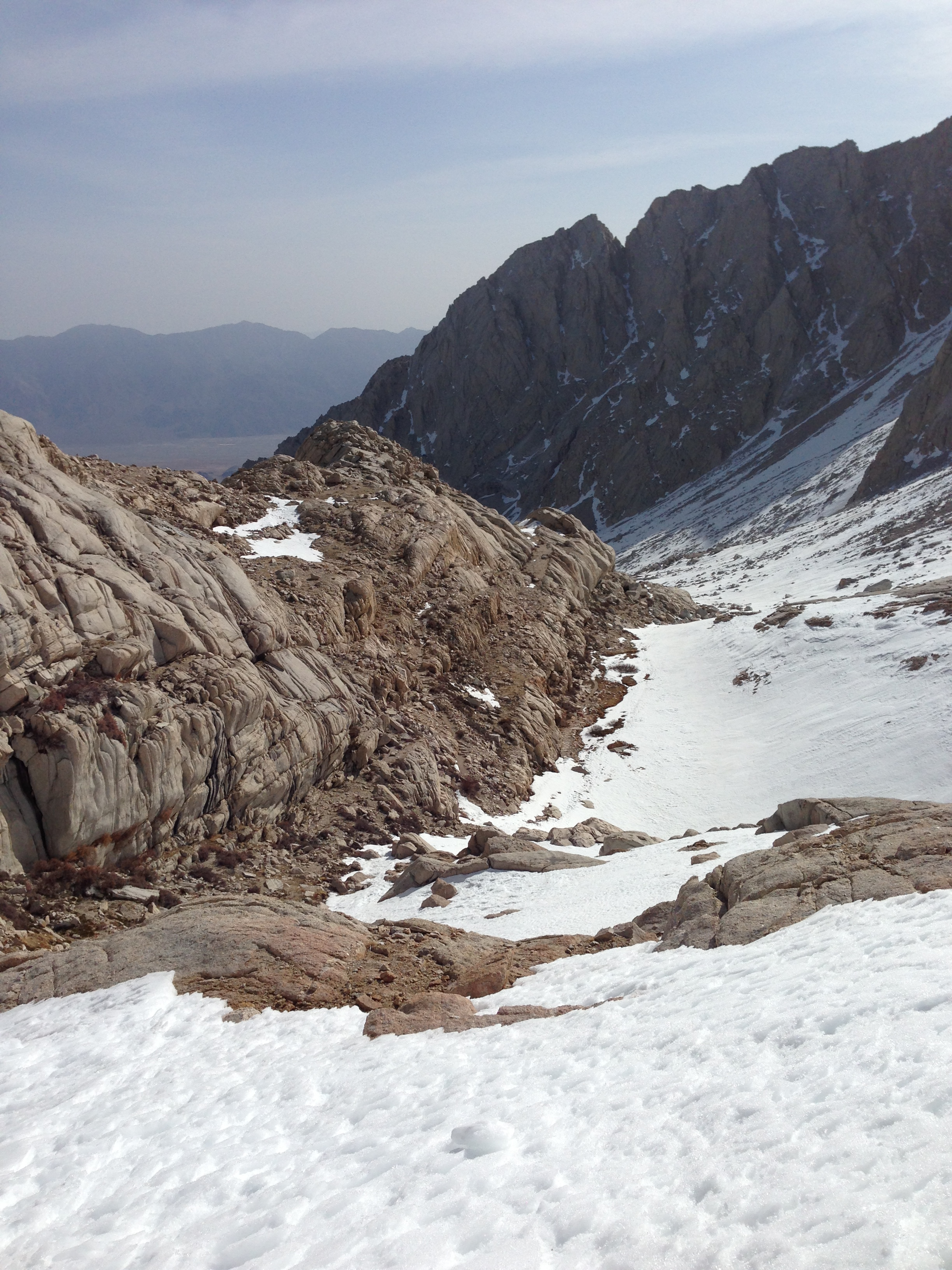 Looking back down toward the Trailside Meadows drainage, Mt. Whitney Trail, April 8, 2013