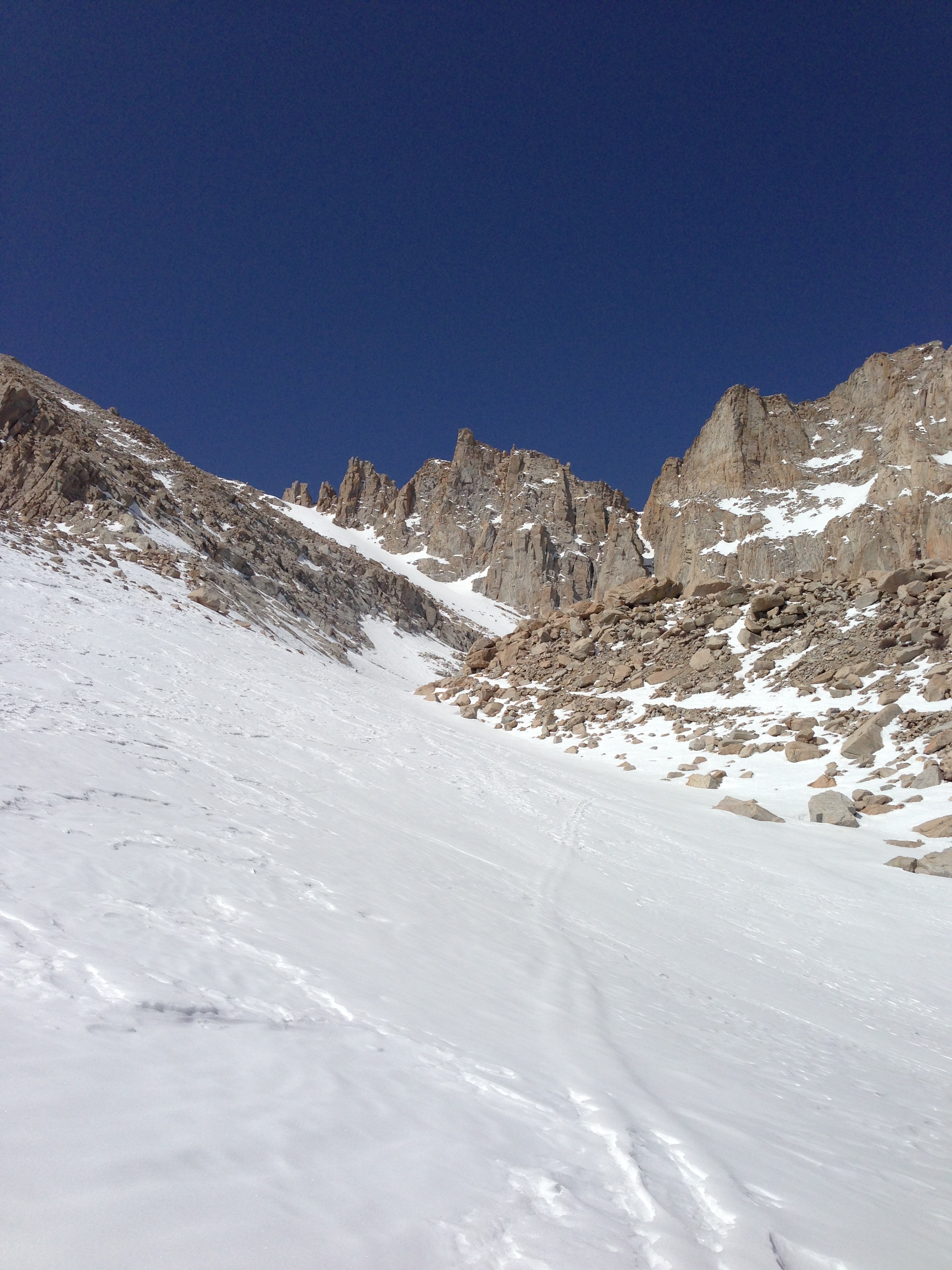 Heading up the chute, April 8, 2013, Mt. Whitney