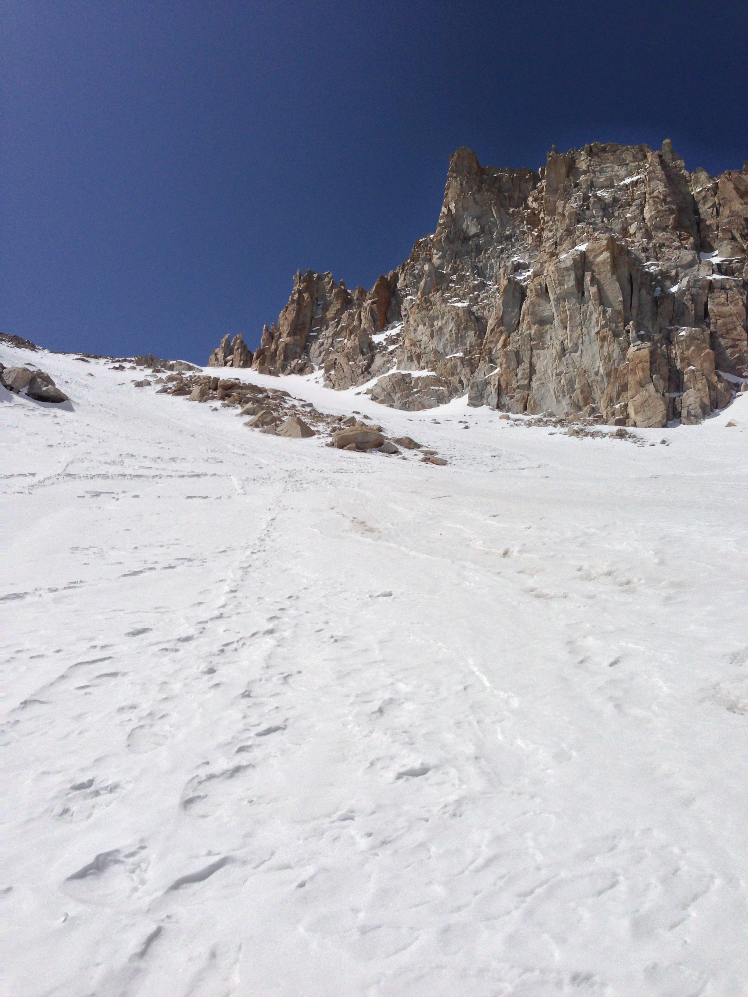 Looking up toward Trail Crest, April 8, 2013, Mt. Whitney