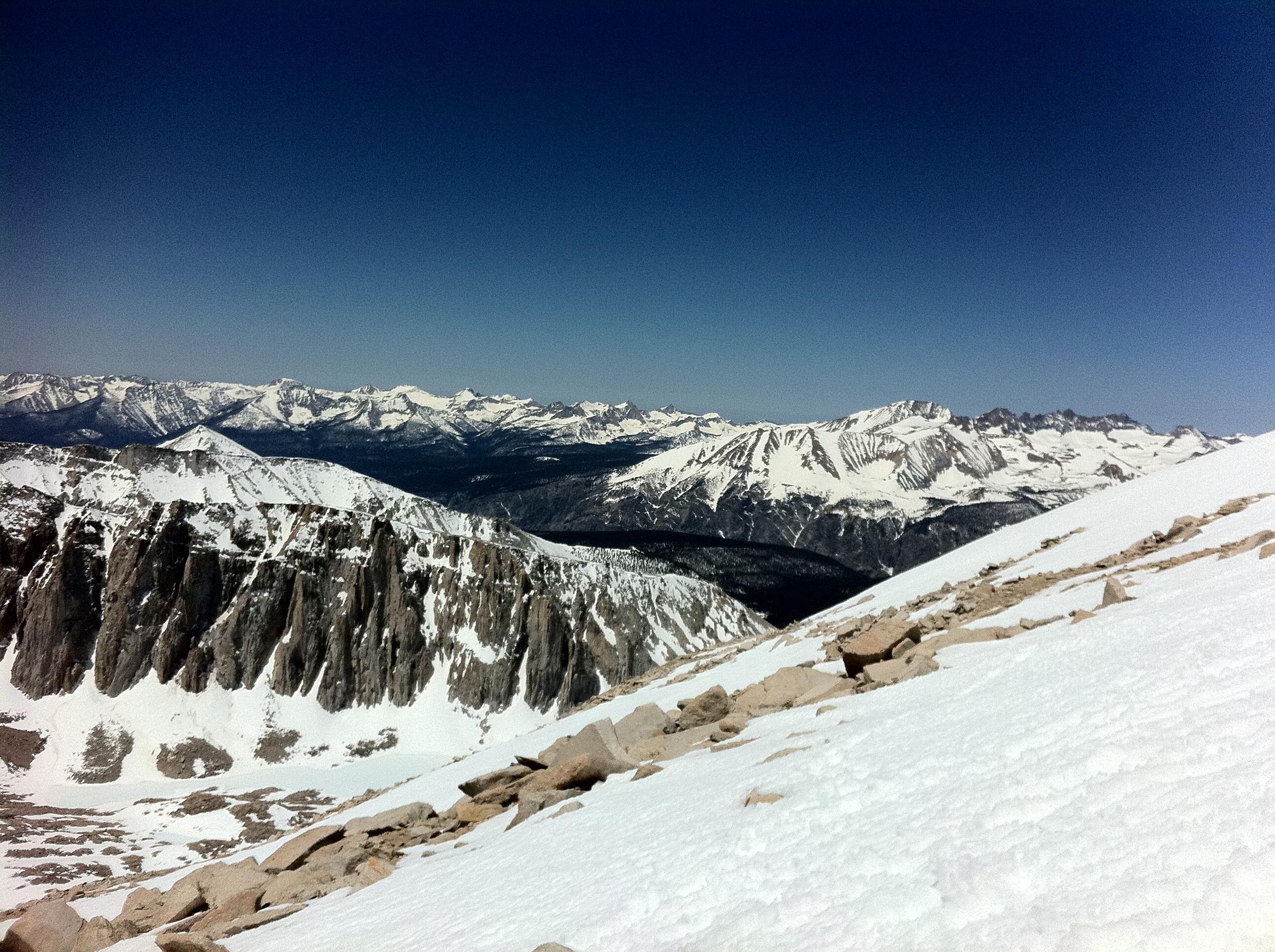 Western Sierra Nevada Mountain Range from Mt. Whitney, June 2011