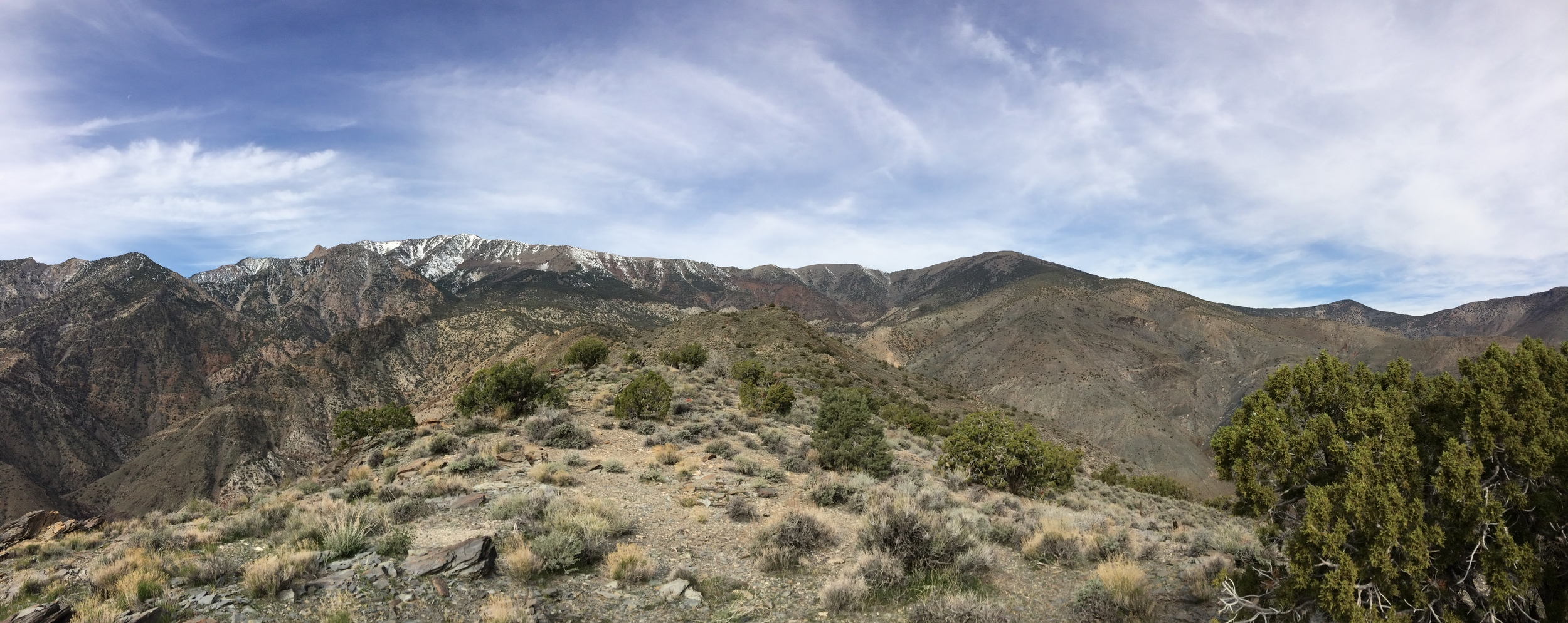 Ascending along the ridgeline toward Telescope Peak along the Shorty's Well Route, March 2015